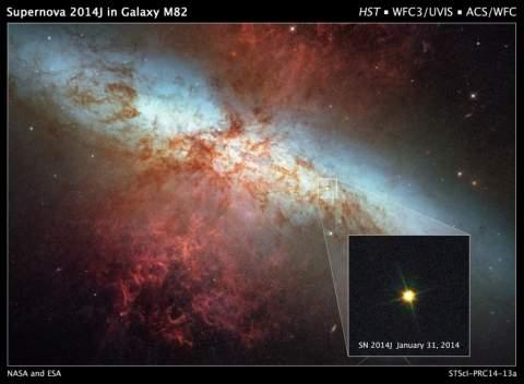 Хаббл наблюдает сверхновую в ближайшей галактике M82