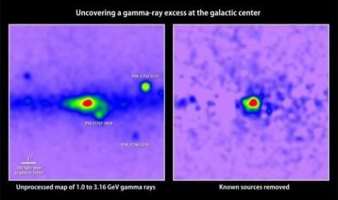 Телескоп Fermi обнаружил избыточное гамма-излучение в центре Галактики