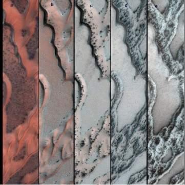 Зонд запечатлел сезонные изменения на Марсе