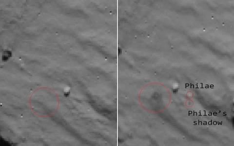 Ученые показали место посадки зонда на комете