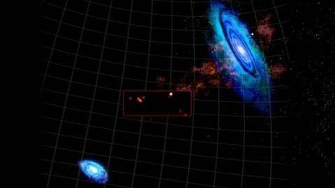 Необычное взаимодействие между двумя соседними галактиками